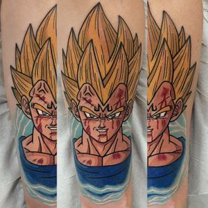 Super Saiyan Vageta tattoo by Adam Perjatel. #AdamPerjatel #anime #dragonball #dbz #dragonballz