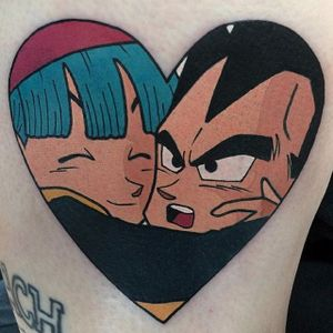 Bulma and Vegeta tattoo by Adam Perjatel. #AdamPerjatel #anime #dragonball #dbz #dragonballz