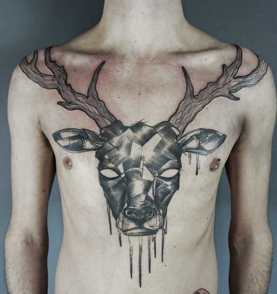 Badass chestpiece by Matteo Cascetti. #chestpiece #stag #deer #MatteoCascetti #sketch