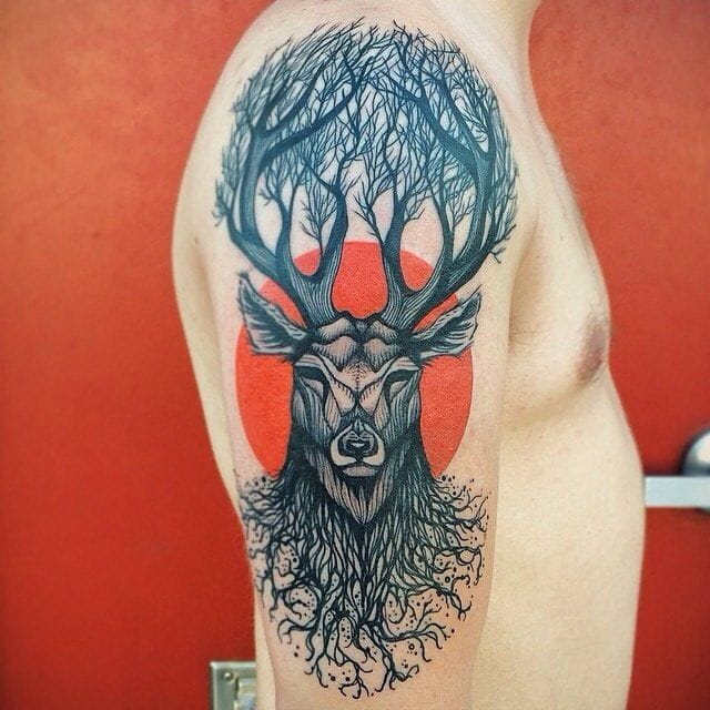 Awesome tree and deer tattoo by Dino Nemec! #deer #tree #stag #DinoNemec