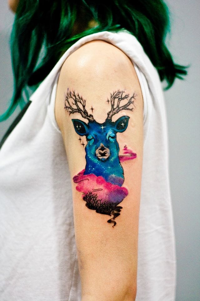 Mystical deer tattoo by Martyna Popiel #deer #stag #stagtattoo #deertattoo #watercolor