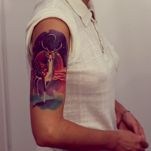 Watercolor fallow deer tattoo by Sasha Unisex. #deer #stag #watercolor #sashaunisex