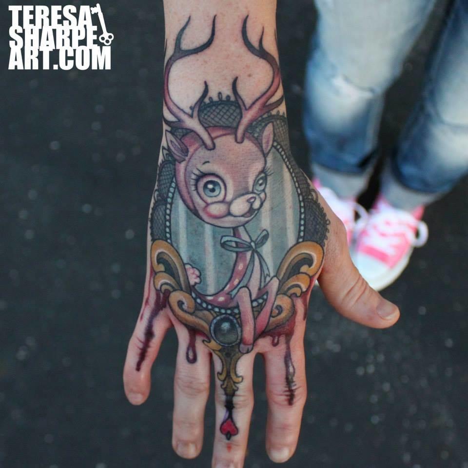 Fun hand deer tattoo by Teresa Sharpe inspired by the art of Mark Ryden. #deer #stag #fun #cartoon #teresasharrp