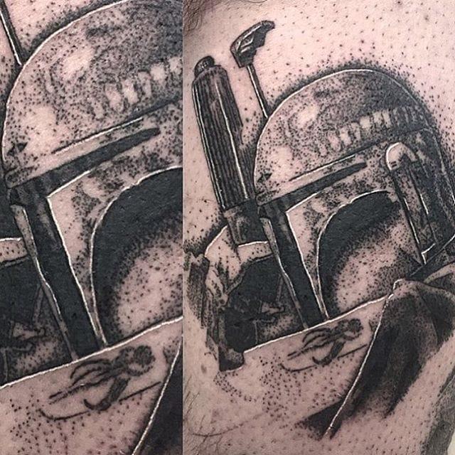 Boba Fett Tattoo by Josh Watson #bobafett #dotwork #dotworkportrait #blackworkportrait #portrait #blackdotwork #dots #blackwork #JoshWatson