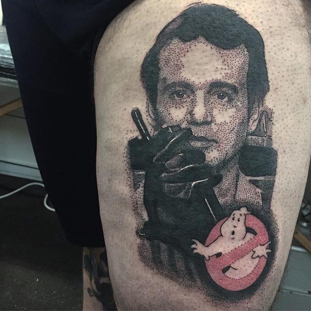 Ghost Busters Tattoo by Josh Watson #ghostbusters #dotwork #dotworkportrait #blackworkportrait #portrait #blackdotwork #dots #blackwork #JoshWatson