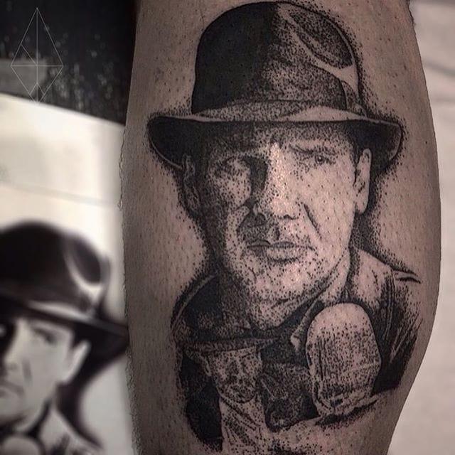 Indiana Jones Tattoo by Josh Watson #indianajones #dotwork #dotworkportrait #blackworkportrait #portrait #blackdotwork #dots #blackwork #JoshWatson