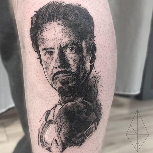 Iron Man Tattoo by Josh Watson #ironman #dotwork #dotworkportrait #blackworkportrait #portrait #blackdotwork #dots #blackwork #JoshWatson