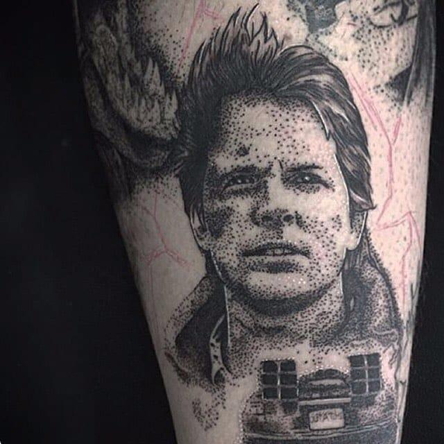 Marty McFly Tattoo by Josh Watson #martymcfly #dotwork #dotworkportrait #blackworkportrait #portrait #blackdotwork #dots #blackwork #JoshWatson