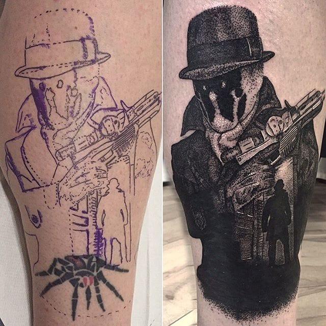 Rorschach Tattoo by Josh Watson #rorschach #dotwork #dotworkportrait #blackworkportrait #portrait #blackdotwork #dots #blackwork #JoshWatson