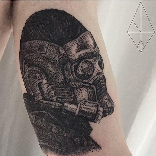 Star Lord Tattoo by Josh Watson #starlord #guardiansofthegalaxy #dotwork #dotworkportrait #blackworkportrait #portrait #blackdotwork #dots #blackwork #JoshWatson