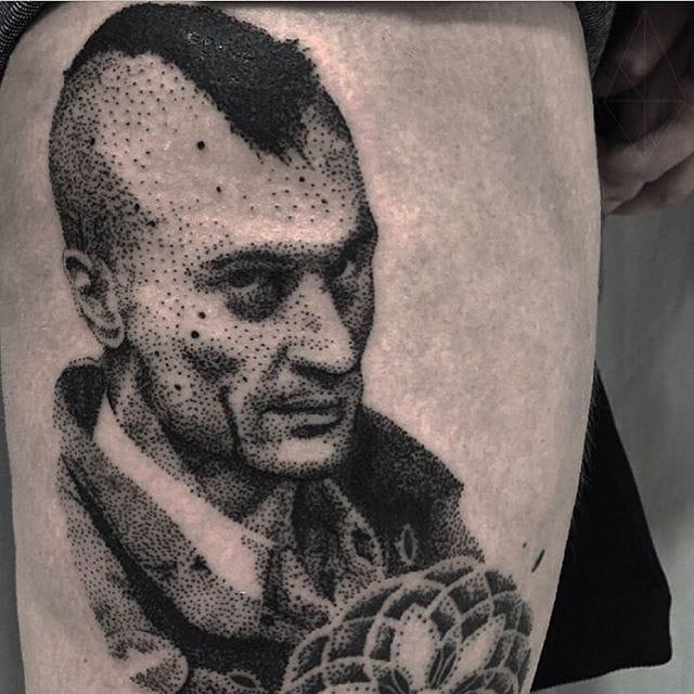 Travis Bickle Tattoo by Josh Watson #travisbickle #taxidriver #dotwork #dotworkportrait #blackworkportrait #portrait #blackdotwork #dots #blackwork #JoshWatson