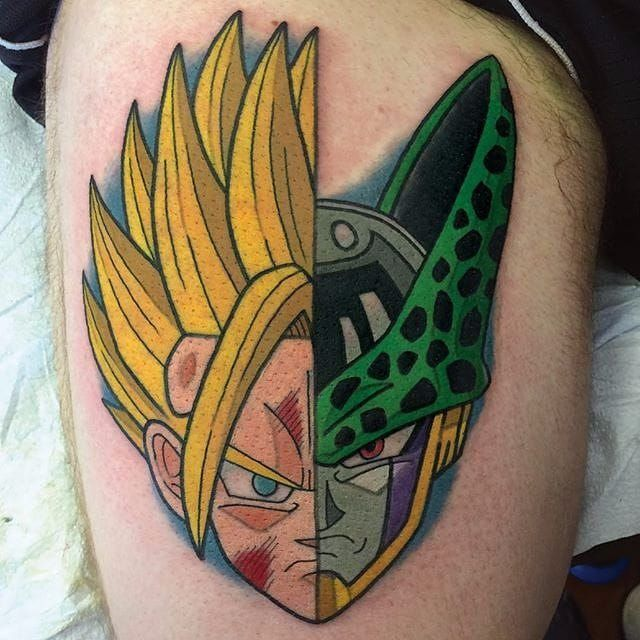Super Saiyan Goku and Cell tattoo by Adam Perjatel. #AdamPerjatel #anime #dragonball #dbz #dragonballz