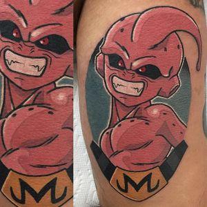 Kid Buu tattoo by Adam Perjatel. #AdamPerjatel #anime #dragonball #dbz #dragonballz