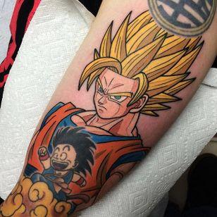 Super Saiyan Goku and Kid Goku tattoo by Adam Perjatel. #AdamPerjatel #anime #dragonball #dbz #dragonballz
