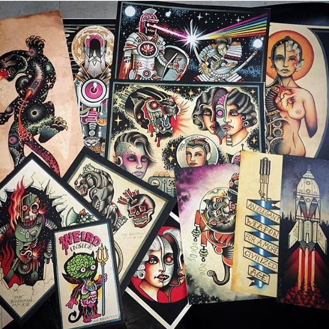 A bunch of Ian Bederman's (IG—wonkytiger) space-age flash art. #flashart #IanBederman #nerdy #scifi #traditional