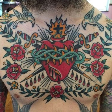 Traditional Sacred Heart Tattoos