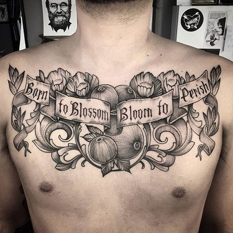 Born to Blossom Bloom to Perish, by Lawrence Edwards (via IG—feraleyes) #chestpiece #pointillism #dotwork #blacktattooing #lawrenceedwards