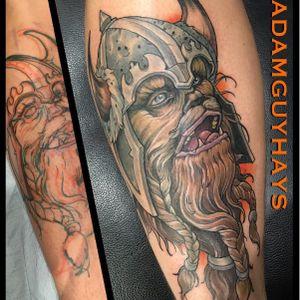 Viking style Chewbacca by Adam Guy Hays (IG—adamguyhays). #AdamGuyHays #NYC #RedRocketTattoo #RogueOne #StarWars #StarWarsDay