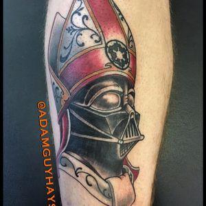 My tattoo of Pope Vader by Adam Guy Hays (IG—adamguyhays). #AdamGuyHays #NYC #RedRocketTattoo #RogueOne #StarWars #StarWarsDay