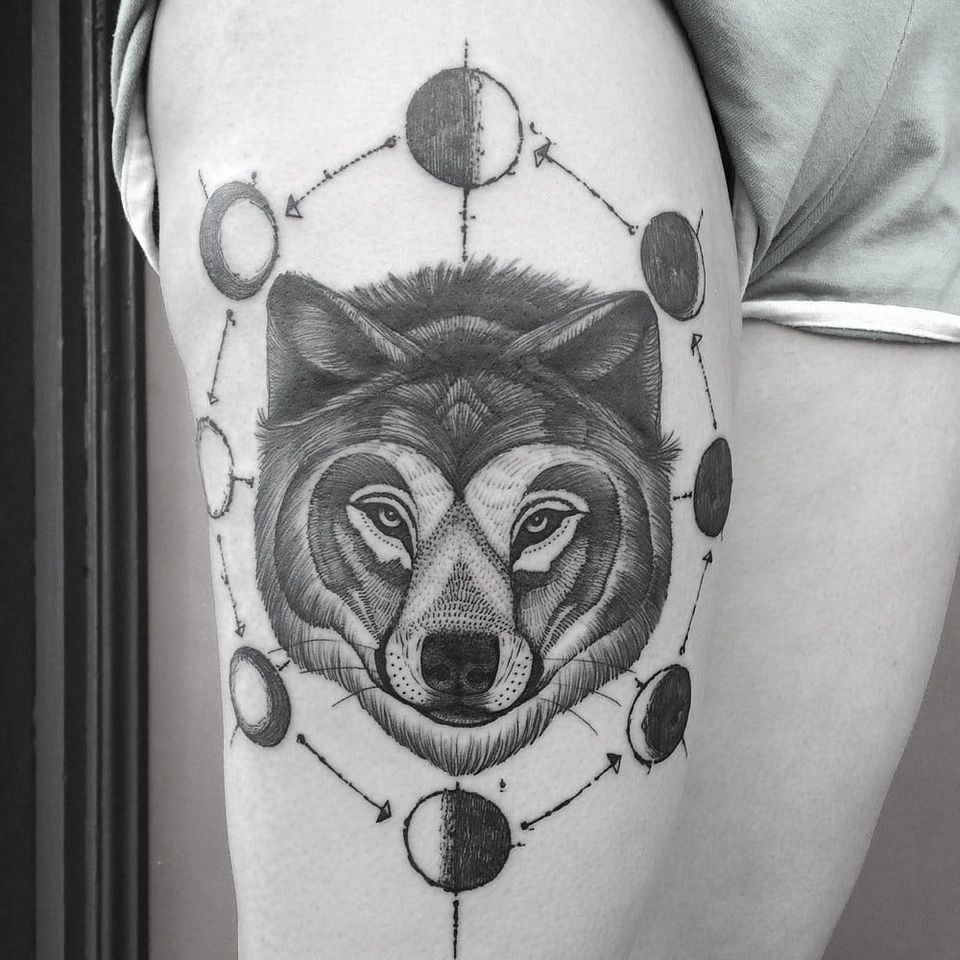 Wolf and moons tattoo