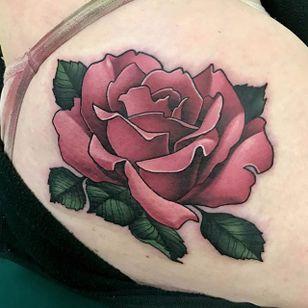 Pink rose, by Aaron Springs (via IG—aaron_springs) #neotraditional #colorwork #floral #flowers #AaronSprings
