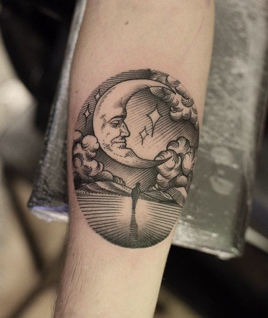 Linework moon tattoo by Can Gurgul #moon #linework #btattooing #blackwork #scenery #celestial #CanGurgul
