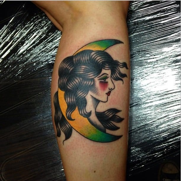 Old school woman on the moon tattoo by Matthew Chahal #moon #oldschool #MatthewChahai #woman