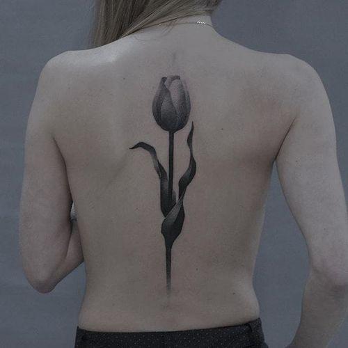 Tulip by Gena Puhnarevich (via IG-gena_tattooer) #illustrative #surreal #dotwork #linework #blackink #genapuhnarevich