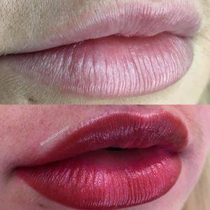 Before and After Lips by Melissa Brockfield (via IG-melissamayuge) #cosmetictattoo #lips #makeup #lipblush #lipstick #MelissaBrockfield