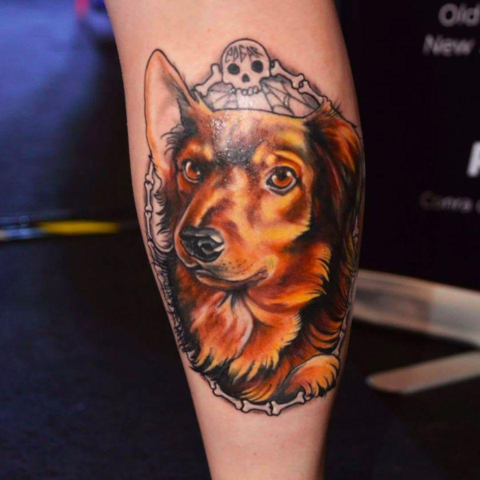 Tattoo vencedora da categoria melhor de domingo na convenção Tattoo Place Convention 2015! #FernaTenjou #tatuadorasbrasileiras #dog #cão #cachorro