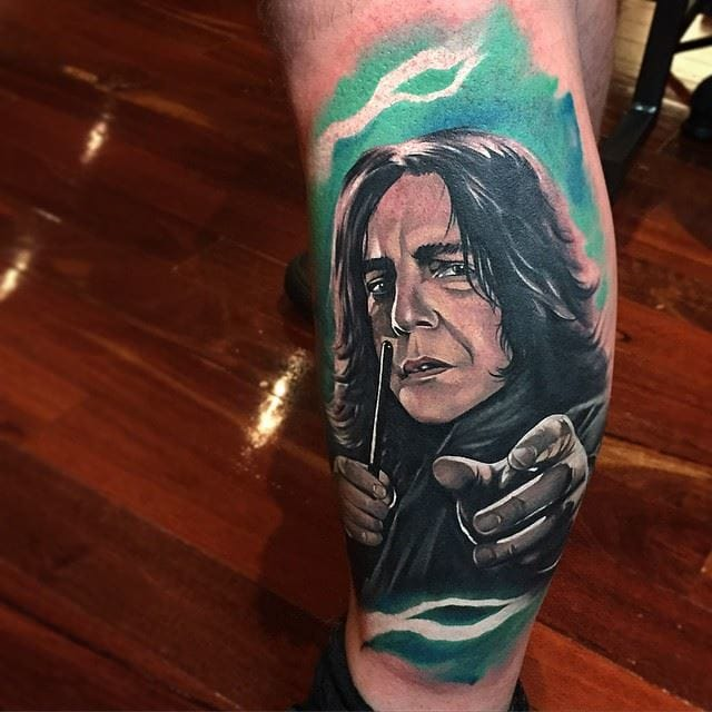 Severus Snape is a popular subject for Harry Potter tattoos. Here, by Benjamin Laukis. #HarryPotter #benjaminlaukis #severussnape #fantattoo #tribute #portrait #realism