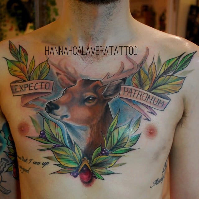 Chestpiece by Hannah Calavera, and you can see some other Harry Potter tattoos on the ribs. #HarryPotter #fantattoo #tribute #ExpectoPatronum #chest #HannahCalavera