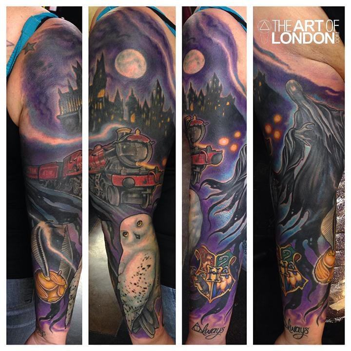 Rad sleeve by London Reese! Harry Potter tattoos look dope as sleeves. #HarryPotter #sleeve #HarryPottersleeve #fantattoo #LondonReese #owl #Hogwarts #train