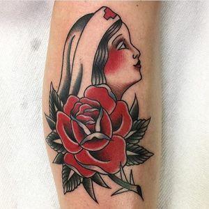 An exquisite Rose of No Man's Land piece by Ben Haynes (IG—benhaynestattoo). #BenHaynes #ladyhead #RoseofNoMansLand #traditional
