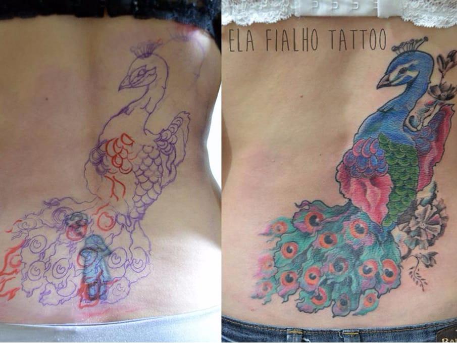Cobertura! #ElaFialho #tatuadorasdobrasil #coloridas #colorful #cobertura #coverup #pavao #peacock