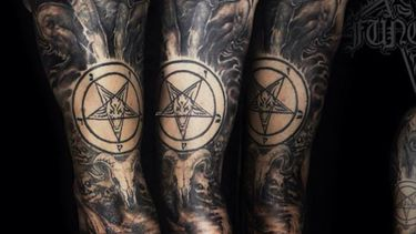 Tattoos of the Sigil of Baphomet — the Insignia of the Church of Satan