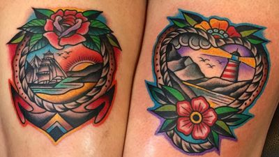 Samuele Briganti's Sunset Colored Traditional Sailor Tattoos