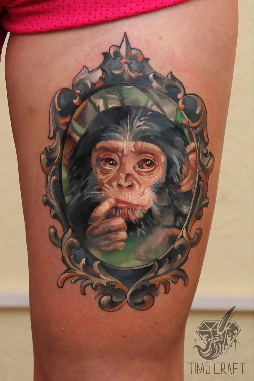 Baby chimpanzé #TymurDenysenko #macacotattoo #monkeytattoo #macaco #monkey #frame #moldura
