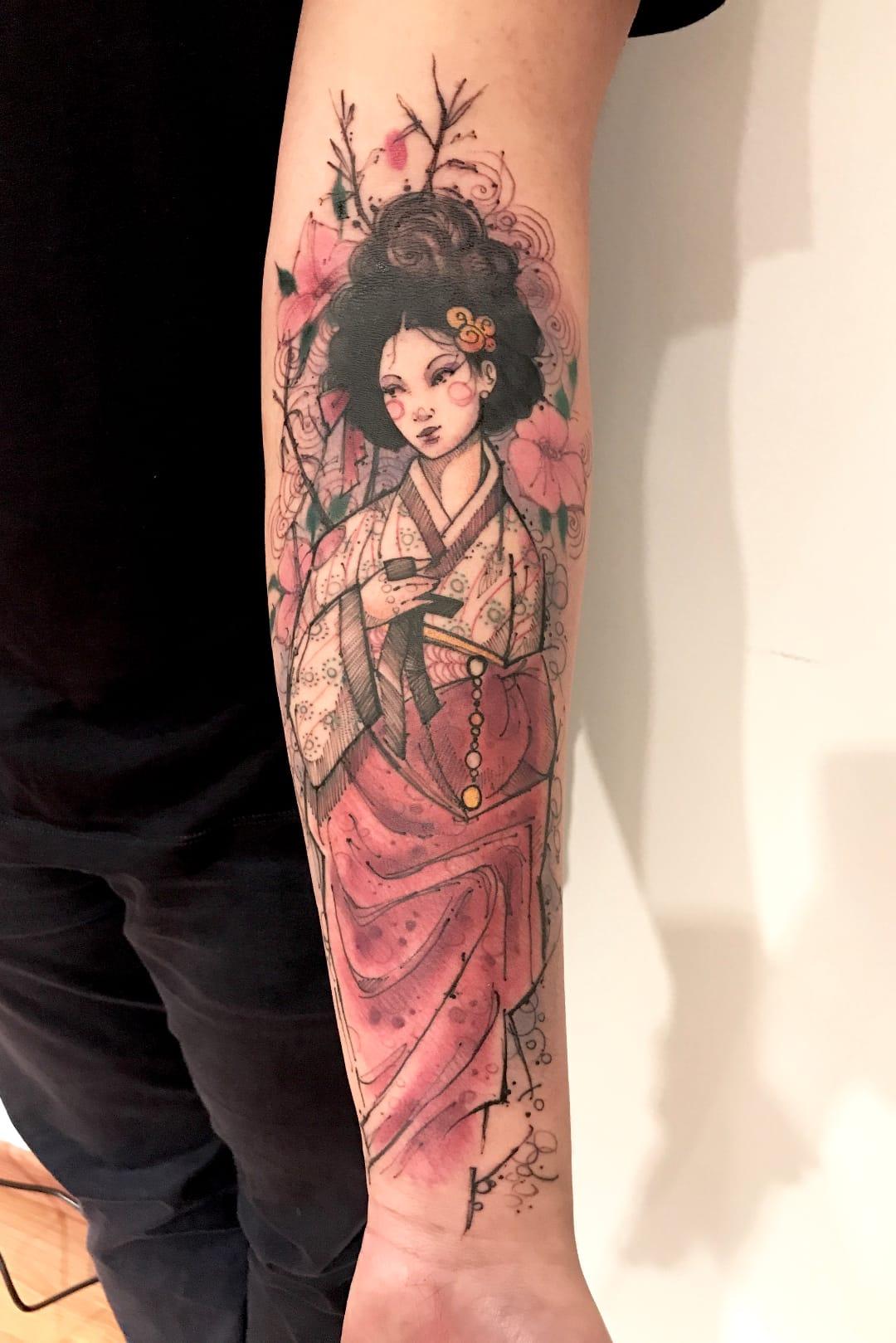 Gueixa #LincolnLima #brazilianartist #brasil #brazil #tatuadoresdobrasil #sketchstyle #watercolor #aquarela #gueixa #geisha #woman #mulher #girl #garota #japonese #japonesa #oriental #flor #flower