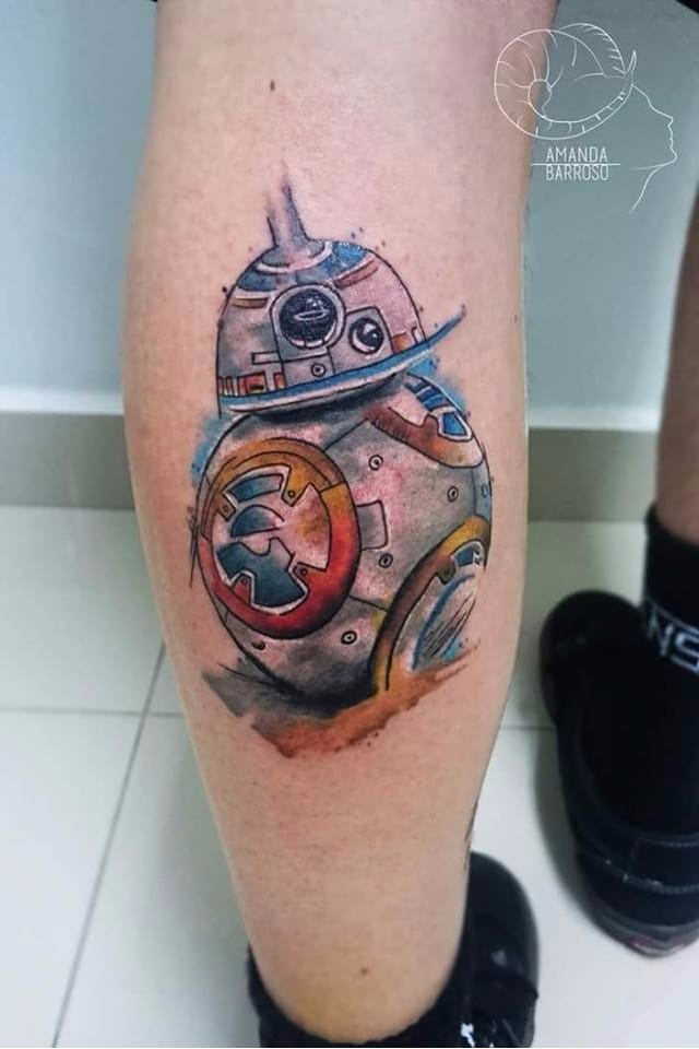 #AmandaBarroso #starwars #tatuadoresdobrasil #nerd #geek #filmes #movies #BB8 #robô #robot #colorida #colorful #aquarela #watercolor