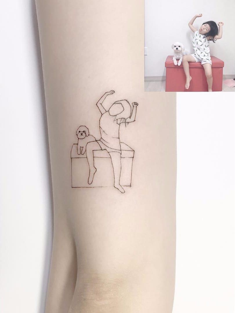 Por Playground Tattoo #PlaygroundTattoo #gringo #cute #fofo #minimalista #minimalist #small #pequeno #fineline #girl #garota #cao #cachorro #dog