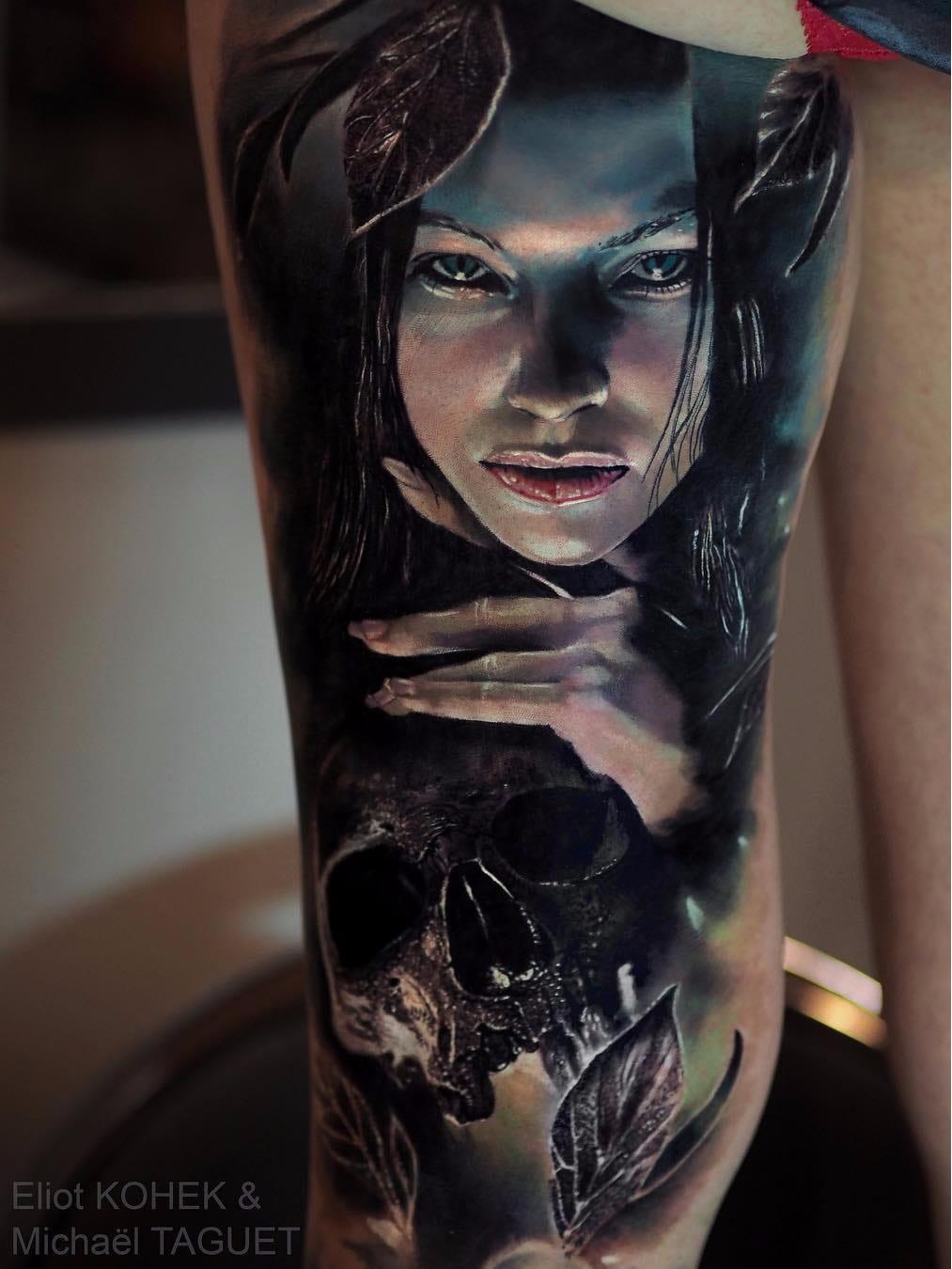 Por Eliot Kohek e Michael Taguet #EliotKohek #MichaelTaguet #gringo #realismo #realism #pretoecinza #blackandgrey #realismocolorido #skull #caveira #cranio #woman #mulher #dark #terror #horror #folha #leaf