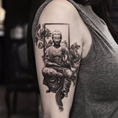 Window to Enlightenment by Oscar Akermo #oscarakermo #blackandgrey #realism #realistic #Buddha #flowers #Buddhism #om #cherryblossom #window #tattoooftheday