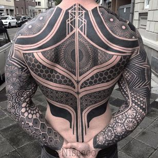 Geometric bodysuit by Nissaco #Nissaco #bodysuit #blackandgrey #blackwork #linework #dotwork #geometry #sacredgeometry #geometric #pattern #shapes #abstract #tattoooftheday