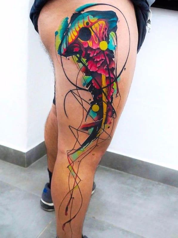 Por Dynoz Art Attack #DynozArtAttack #aguaviva #jellyfish #jellyfishtattoo #colorida #colorful #abstrato #abstract #aquarela #watercolor