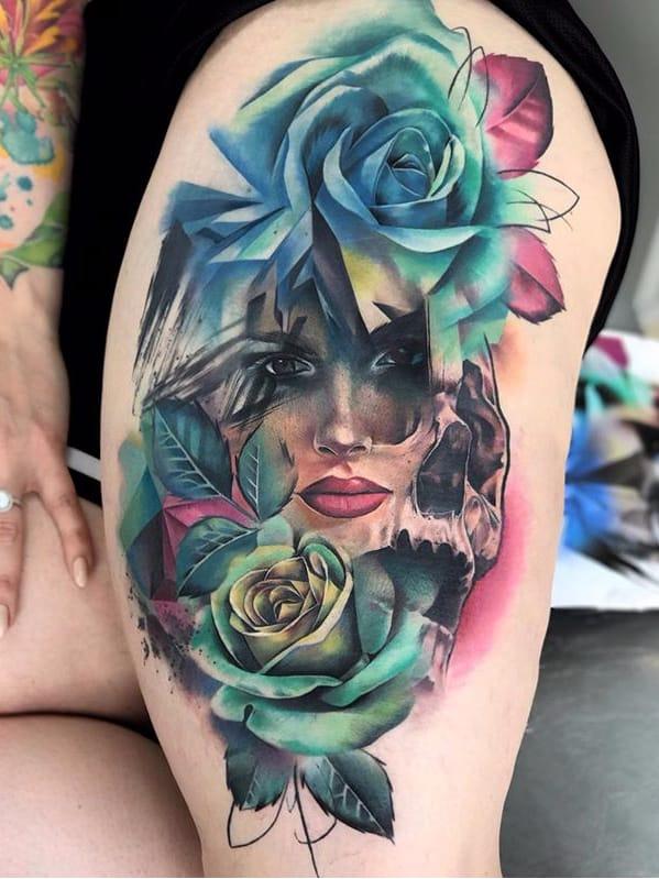 Por Freddie Albrighton #FreddieAlbrighton #gringo #colorido #colorful #realismo #realism #realismocolorido #woman #mulher #flor #flower #rosa #rose #skull #caveira #cranio #folha #leaf #abstract #abstrato