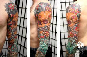 Japanese Skull Flower Tattoo by Vienna Electric Tattoo