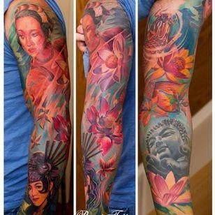 Geisha Buddha Flower Tattoo by Remis Tattoo
