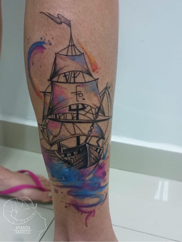 #AmandaBarroso #brasil #brazil #brazilianartist #TatuadorasDoBrasil #watercolor #aquarela #colorido #colorful #navio #ship #barco #mar #sea #ocean #pontilhismo #dotwork