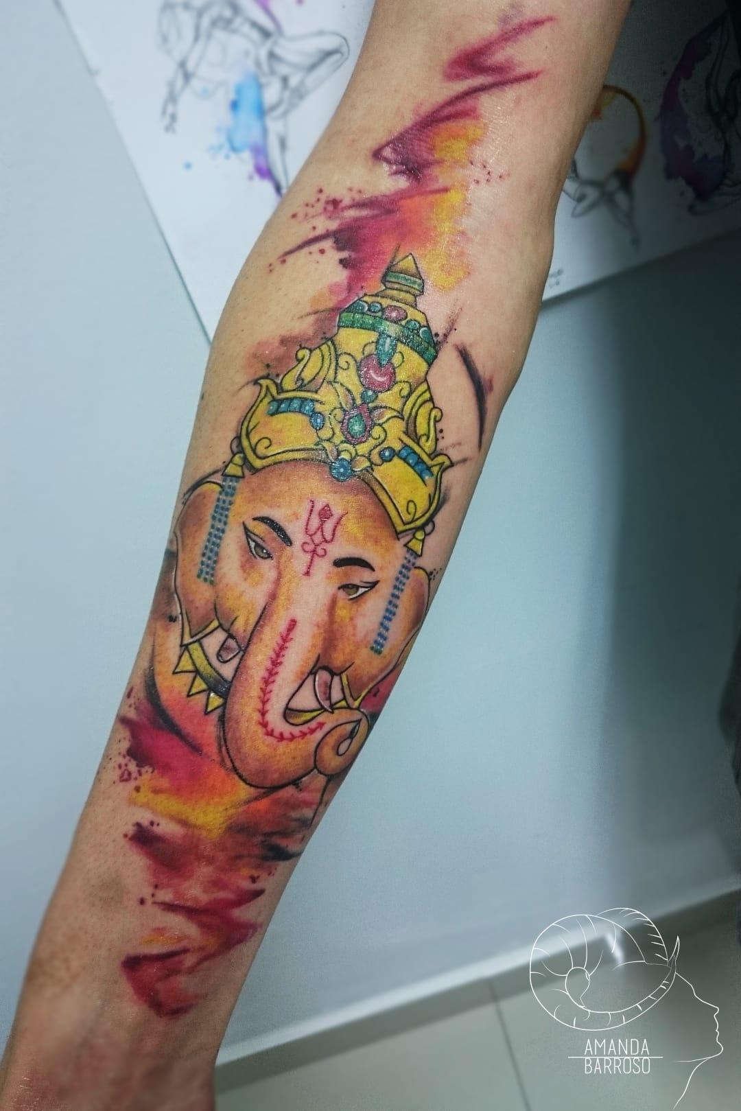 #AmandaBarroso #brasil #brazil #brazilianartist #TatuadorasDoBrasil #watercolor #aquarela #colorido #colorful #ganesha #deus #god #hindu #hinduism #elefante #elephant